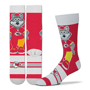 New! Kansas City KC Chiefs Wolf Mascot Madness Socks One Size Fits Most Adults