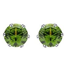 9mm 14K White Gold Rhodium Plated Basket Round Peridot Solitaire Earrings Studs