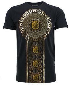 Mens Time Is MoneyUrban Fashion Baroque Lion Foil Print Short Sleeve T-shirt Top