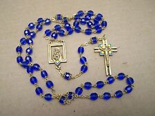 Rosary with Blue Plastic Beads and Brass Cross & Accents - Mexico
