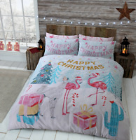 Christmas Flamingo & Llama Duvet Quilt Cover Girls Boys Bedding Set / Gift