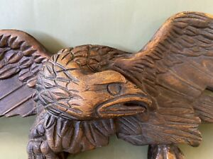 Antique Early 20thC Folk Art Wood Carved Patriotic Eagle Trade Sign Bellamy Styl