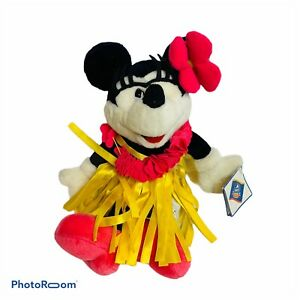 Disney Mickeys World Hawaii Exclusive Plush Minnie Hula Girl Doll Mouse Vintage