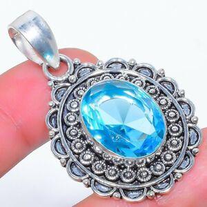 "Blue Topaz Gemstone 925 Sterling Silver Jewelry Pendant 1.9"" F2543"