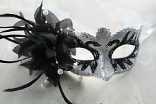 LADIES BLACK WHITE SILVER WITH PEARLS & FLOWER VENETIAN CARNIVAL MASQUERADE MASK