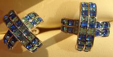 X/Cross Chrome Sparkling Blue Rhinestone Style MultiStone Jewelry Cufflink Set