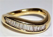 18CT 18 CARAT YELLOW GOLD 0.5CT BAGUETTE DIAMOND ETERNITY  WEDDING BAND RING