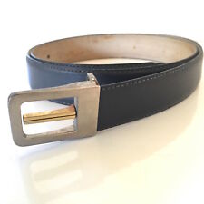 Men's BELT vintage 1980's charcoal grey gold silver tone buckle Men's Dress belt