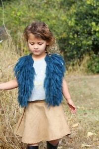 Bella and Lace Shaggy Vest - Navy with gold - size 3/4