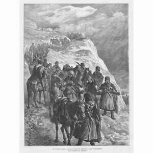 RUSSIAN ARMY Caucasian Cossacks Crossing a Pass In Dagestan -Antique Print 1888