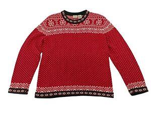 LL Bean Nordic Fair Isle Sweater Boys L 14 16 Pullover Red Snowflake Christmas