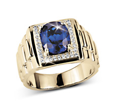 Natural Blue Sapphire & Diamond Gem Stone 14k Solid Yellow Gold Men's Ring