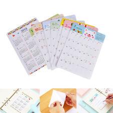 13 hoja/Set 2018 calendario cuaderno mensual categoría pegatinas planificador