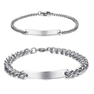 Silver Women Men ID Name DIY Free Engraving Braclet Charm Chain Bangle Plate Bar