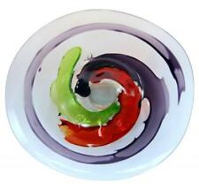 "20"" Hand Blown Art Glass Table Platter Plate Red Green Purple Wall Hanging Mount"