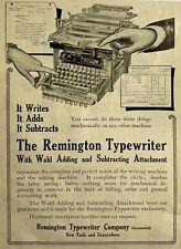 1900's 1908 Advertisement Print Ad Remington Typewriter Wahl Adding Attachment