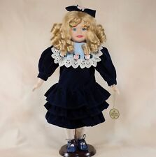 """Porcelain Collector's Girl Doll 16.5"""" Blond Curly Hair Blue Eyes"""