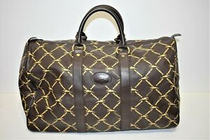 Longchamp, Sac week-end 45, en cuir marron ébène monogrammé