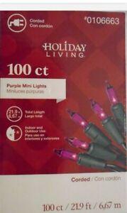 HOLIDAY LIVING 100ct 20.62-ft PURPLE Mini Plug-In Halloween string lights