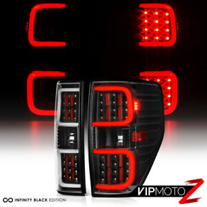 """LED PLASMA TUBE"" 2009-2014 Ford F150 F-150 Black Brake Tail Lights Left+Right"