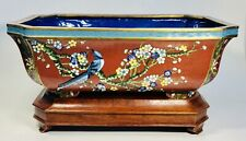 Antique 1920s Chinese Cloisonne Enamel Bronze Garden Flower Planter With Base