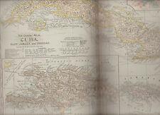 Cuba Haiti Jamaica Trinidad Century Atlas 1897 Antique Map #68 11 3/4 x 16