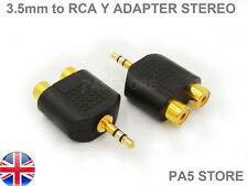 2x Stereo Gold 3.5mm Male Jack to 2 RCA female adapters (2pcs) AV Mobile MP3 Amp