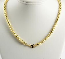 "22.80 gram 14k Yellow Gold Men's Women's Bead Moon Cut Chain Necklace 20"" 5 mm"