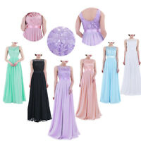 Women Chiffon Cocktail Lace Ball Gown Evening Party Bridesmaid Long Dress Formal