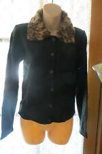 VINTAGE  ~ XCEPSION ~ Black/Animal Collar CARDIGAN * Size 8 * ROCKABILLY *
