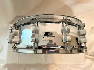 Ludwig Rocker 90s - 2000s 5 x 14 Steel Snare Drum Black/White Badge #06002960