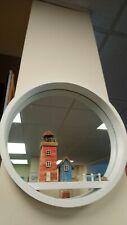 "Round white bathroom light house mirror, 12"" 30cm"