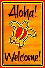 *Aloha Welcome Honu Sea Turtle* Made In Hawaii Usa Metal Sign 8X12 Hawaiian Luau