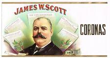 CIGAR CAN LABEL VINTAGE C1900 JAMES SCOTT PUBLISHER CHICAGO HERALD NEWSPAPER MAN