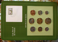 Coin Sets of All Nations Malta 1972 - 1982 2 & 3 Mils 1982 UNC 2 cent 1977 wcard