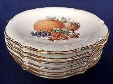 Schumann Arzberg Porcelain Dessert Plates Fruits Gold Trim Set of 6 Six Germany