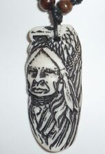TRIBAL CHIEF EAGLE NATIVE AMERICAN PENDANT NECKLACE CARVING WHITE YAK BONE