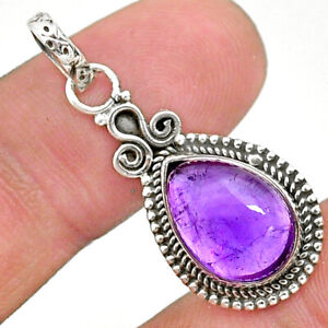 3.91cts Natural Purple Amethyst 925 Sterling Silver Pendant Jewelry T35857