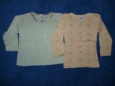 Lot deux t-shirts manches longues bébé fille 9-12 mois pur coton Petit Bateau