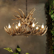 Vintage Brown/Coffee Resin Faux Antler Horn Chandelier Pendant Light 4/6/8 Lamps