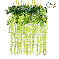 12Pcs Artificial Silk Flower Wisteria Vine Hanging Garland Garden Wedding Decor