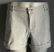 Retro Grey Wash Denim Cuffed Cotton Stretch Shorts Plus Size 15/16