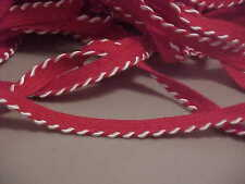 5 YDS RED LIP TRIM WITH WHITE GIMP WHIP STITCHING