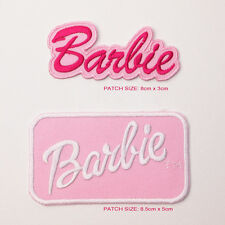 BARBIE Classic Doll Logo Patch Set, 2 Embroidered Iron-On Patches - NEW