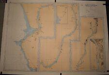 ANCIENNE CARTE HYDROGRAPHIQUE MARINE COURS DU GUADALQUIVIR ESPAGNE 105 x 75 CM