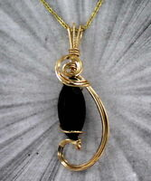 FACETED BLACK ONYX GEMSTONE PENDANT, NECKLACE in 14kt ROLLED GOLD WIRE WRAPPED