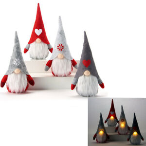 "GIFTCRAFT 9"" LED LIGHT UP NOSE CHRISTMAS GNOME BEAN BAG SHELF SITTER 4 CHOICES"
