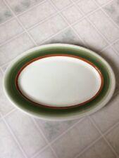 Vtg Mayer China La Mure True Ivory Oval Plate Platter Olive Green & Brown Border
