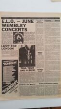 ELO THIN LIZZY JETHRO TULL 'news' 1978 UK ARTICLE / clipping