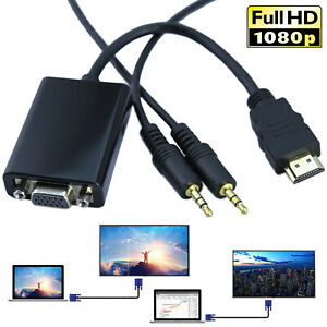 HDMI In To VGA Out Video Adapter AV Converter Audio Cable For Desktop PC Laptop